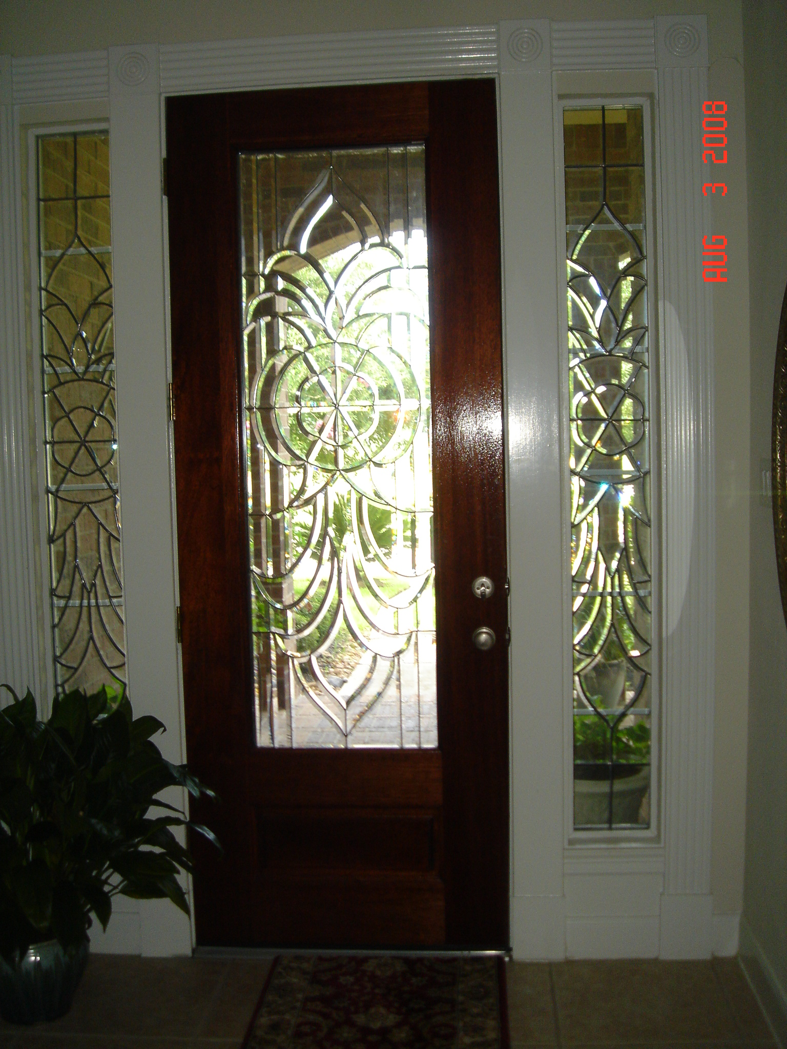 Bevel side windows for front door allie kay 39 s glass more for Entry door with side windows